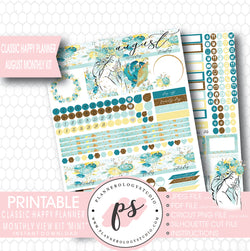 """Mint"" August 2017 Monthly View Kit Printable Planner Stickers (for use with Mambi Classic Happy Planner) - Plannerologystudio"