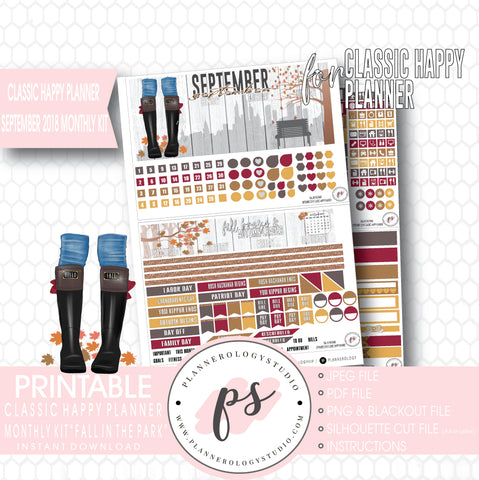 Fall in the Park September 2018 Monthly View Kit Digital Printable Planner Stickers (for use with Classic Happy Planner) - Plannerologystudio