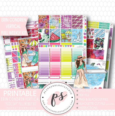 Pool Day Full Weekly Kit Printable Planner Stickers (for use with Erin Condren Vertical) - Plannerologystudio