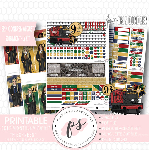 H Express (Harry Potter) August 2018 Monthly View Kit Digital Printable Planner Stickers (for use with Erin Condren) - Plannerologystudio