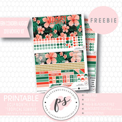 Tropical Summer ECLP Erin Condren August 2018 Monthly Kit Digital Printable Planner Stickers (PDF/JPG/PNG/Silhouette Cut File Freebie) - Plannerologystudio