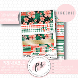 Tropical Summer Classic Happy Planner August 2018 Monthly Kit Digital Printable Planner Stickers (PDF/JPG/PNG/Silhouette Cut File Freebie) - Plannerologystudio