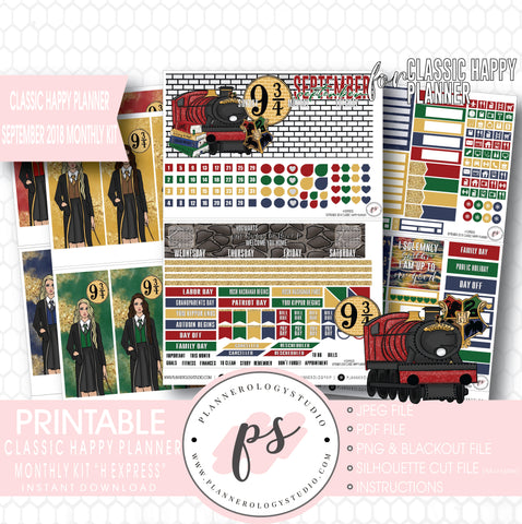 H Express (Harry Potter) September 2018 Monthly View Kit Digital Printable Planner Stickers (for use with Classic Happy Planner) - Plannerologystudio