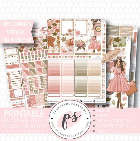 Hello Fall Full Weekly Kit Printable Planner Stickers (for use with Erin Condren Vertical) - Plannerologystudio