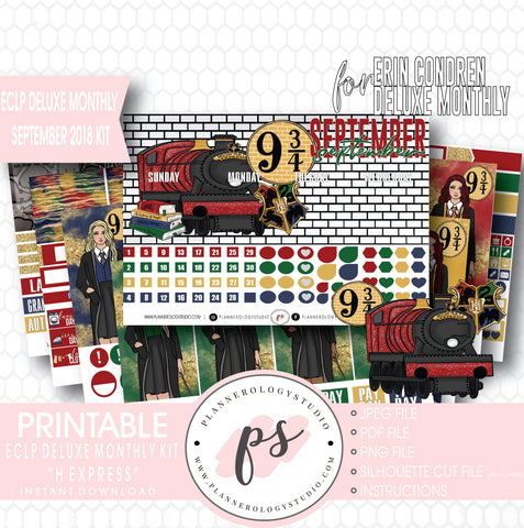 H Express (Harry Potter) September 2018 Monthly View Kit Digital Printable Planner Stickers (for use with Erin Condren Deluxe Monthly Planner) - Plannerologystudio
