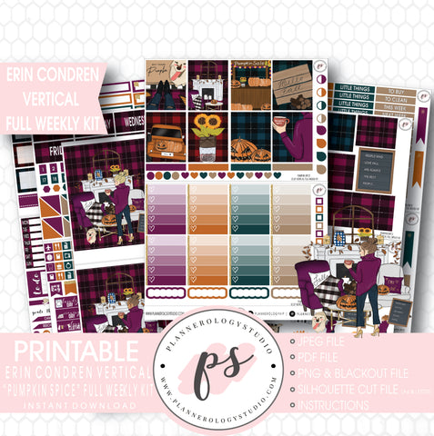 Pumpkin Spice Fall Full Weekly Kit Printable Planner Stickers (for use with Erin Condren Vertical) - Plannerologystudio