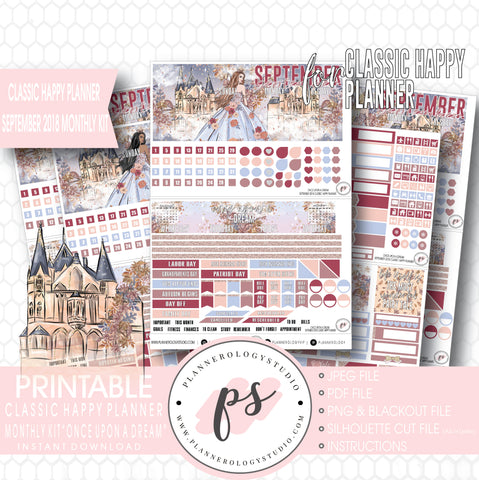 Once Upon a Dream September 2018 Monthly View Kit Digital Printable Planner Stickers (for use with Classic Happy Planner) - Plannerologystudio