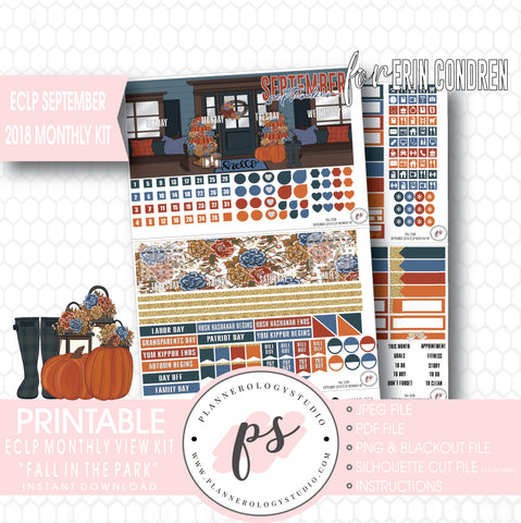 Fall Dusk September 2018 Monthly View Kit Digital Printable Planner Stickers (for use with Erin Condren) - Plannerologystudio