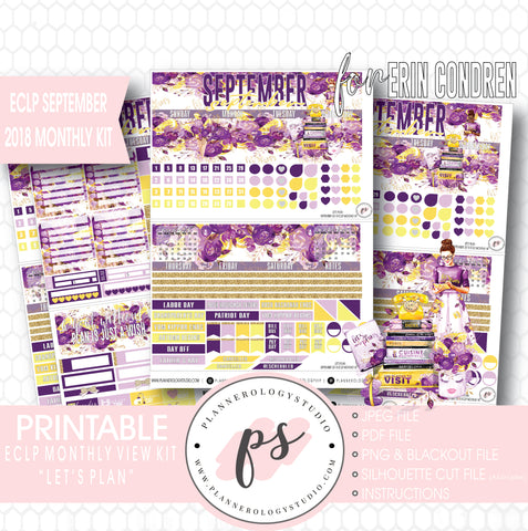 Let's Plan September 2018 Monthly View Kit Digital Printable Planner Stickers (for use with Erin Condren) - Plannerologystudio