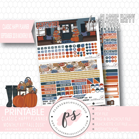 Fall Dusk September 2018 Monthly View Kit Digital Printable Planner Stickers (for use with Classic Happy Planner) - Plannerologystudio