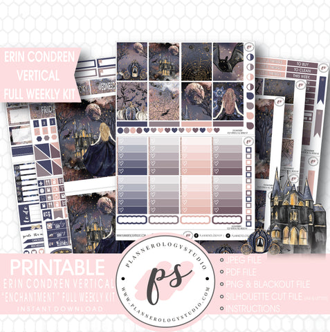 Enchanted Halloween Full Weekly Kit Printable Planner Stickers (for use with Erin Condren Vertical) - Plannerologystudio