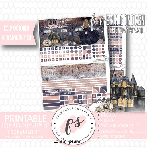 Enchantment Halloween October 2018 Monthly View Kit Digital Printable Planner Stickers (for use with Erin Condren) (Monday Start) - Plannerologystudio