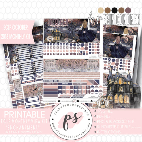 Enchantment Halloween October 2018 Monthly View Kit Digital Printable Planner Stickers (for use with Erin Condren) - Plannerologystudio