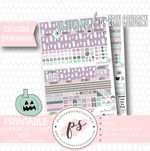 Boo October 2018 Halloween Monthly View Kit Printable Planner Stickers (for use with Erin Condren) - Plannerologystudio