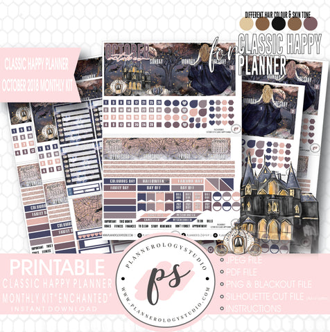 Enchantment Halloween October 2018 Monthly View Kit Digital Printable Planner Stickers (for use with Classic Happy Planner) - Plannerologystudio