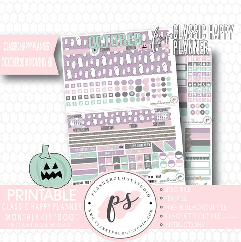 Boo October 2018 Halloween Monthly View Kit Printable Planner Stickers (for use with Classic Happy Planner) - Plannerologystudio