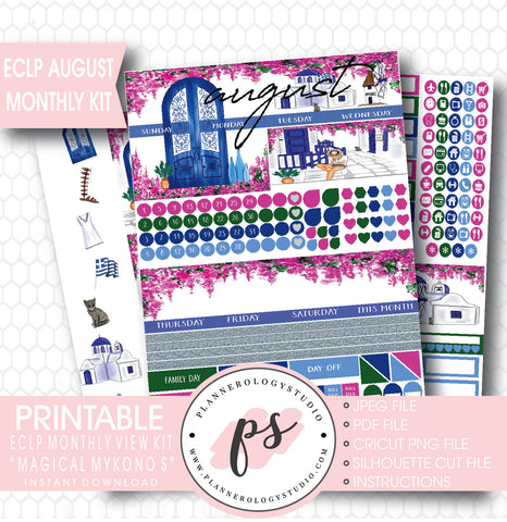 """Magical Mykonos"" August 2017 Monthly View Kit Printable Planner Stickers (for use with ECLP) - Plannerologystudio"