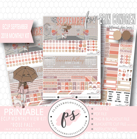 Rose Fall September 2018 Monthly View Kit Digital Printable Planner Stickers (for use with Erin Condren) - Plannerologystudio