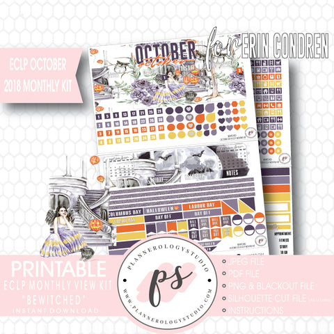 Bewitched October 2018 Halloween Monthly View Kit Printable Planner Stickers (for use with Erin Condren) - Plannerologystudio