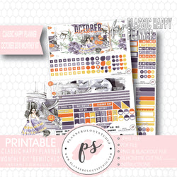 Bewitched October 2018 Halloween Monthly View Kit Printable Planner Stickers (for use with Classic Happy Planner) - Plannerologystudio