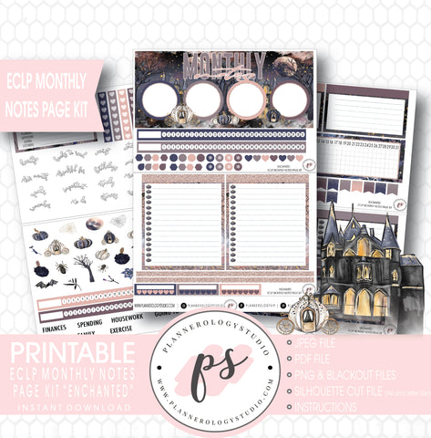 Enchanted Halloween Monthly Notes Page Kit Digital Printable Planner Stickers (for use with Erin Condren) - Plannerologystudio