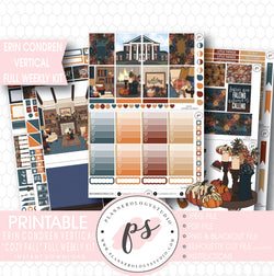 Cozy Fall Full Weekly Kit Printable Planner Stickers (for use with Erin Condren Vertical) - Plannerologystudio