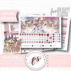 Once Upon a Dream September 2018 Monthly View Kit Digital Printable Planner Stickers (for use with Big Happy Planner) - Plannerologystudio