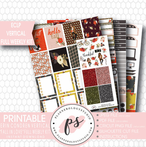 Fall In Love Full Weekly Kit Printable Planner Stickers (for use with ECLP) - Plannerologystudio