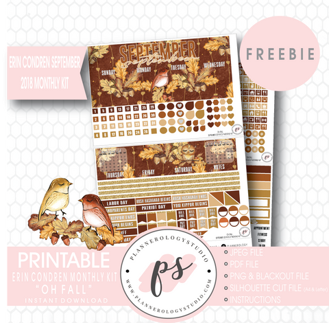 Oh Fall ECLP Erin Condren September 2018 Monthly Kit Digital Printable Planner Stickers (PDF/JPG/PNG/Silhouette Cut File Freebie) - Plannerologystudio