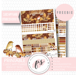 Oh Fall Classic Happy Planner September 2018 Monthly Kit Digital Printable Planner Stickers (PDF/JPG/PNG/Silhouette Cut File Freebie) - Plannerologystudio