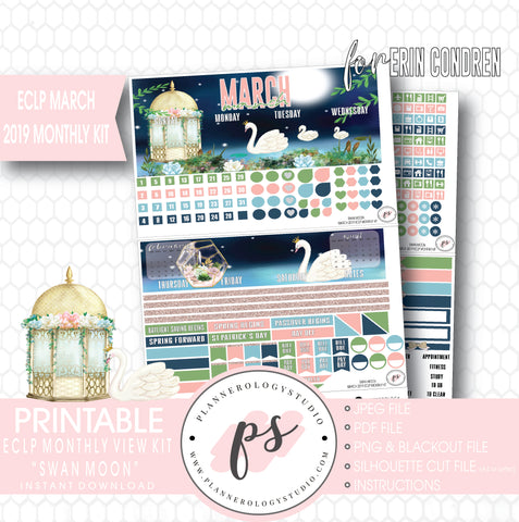 Swan Moon March 2019 Monthly View Kit Digital Printable Planner Stickers (for use with Erin Condren) - Plannerologystudio