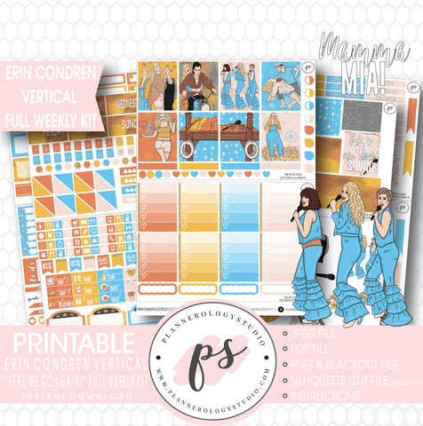 Here We Go Again! Mamma Mia Full Weekly Kit Printable Planner Stickers (for use with Erin Condren Vertical) - Plannerologystudio