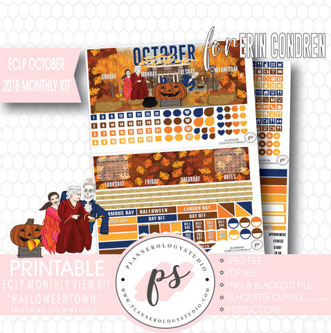 Halloweentown October 2018 Halloween Monthly View Kit Printable Planner Stickers (for use with Erin Condren) - Plannerologystudio