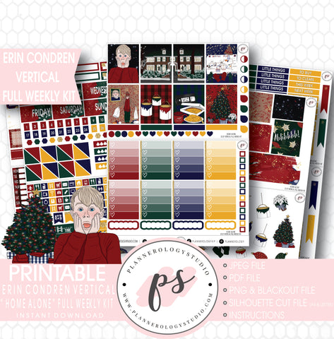 Home Alone Inspired Christmas Full Weekly Kit Printable Planner Stickers (for use with Erin Condren Vertical) - Plannerologystudio