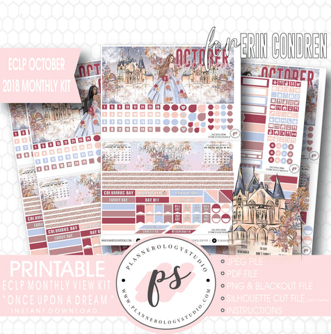 Once Upon a Dream October 2018 Monthly View Kit Digital Printable Planner Stickers (for use with Erin Condren) - Plannerologystudio