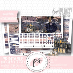 Enchanted Halloween October 2018 Monthly View Kit Digital Printable Planner Stickers (for use with Big Happy Planner) - Plannerologystudio