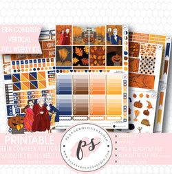 Halloweentown Full Weekly Kit Printable Planner Digital Stickers (for use with Erin Condren Vertical) - Plannerologystudio