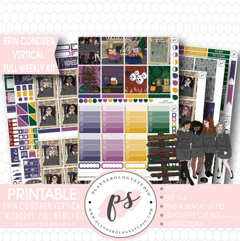Wizardry (Harry Potter) Halloween Full Weekly Kit Printable Planner Digital Stickers (for use with Erin Condren Vertical) - Plannerologystudio