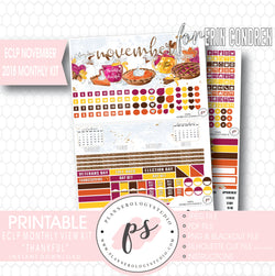 Thankful Thanksgiving November 2018 Monthly View Kit Printable Planner Stickers (for use with Erin Condren) - Plannerologystudio