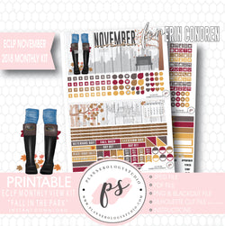 Fall in the Park November 2018 Monthly View Kit Digital Printable Planner Stickers (for use with Erin Condren) - Plannerologystudio