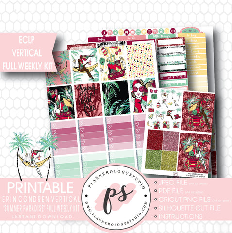 Summer Paradise Full Weekly Kit Printable Planner Stickers (for use with ECLP) - Plannerologystudio