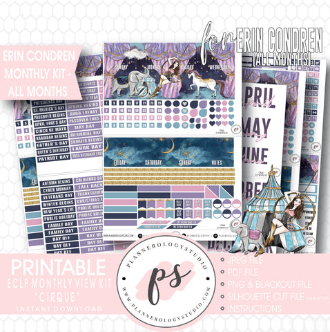 Cirque Undated Monthly View Kit (All Months) Digital Printable Planner Stickers (for use with Erin Condren) - Plannerologystudio