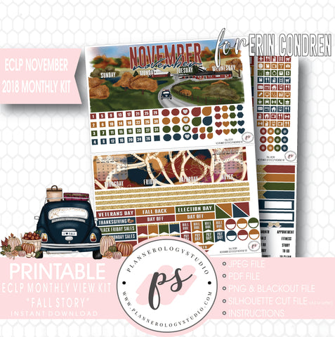 Fall Story November 2018 Monthly View Kit Digital Printable Planner Stickers (for use with Erin Condren) - Plannerologystudio