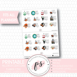 12 Day Halloween Countdown Planner Icons Digital Printable Planner Stickers - Plannerologystudio