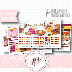 Thankful Thanksgiving November 2018 Monthly View Kit Digital Printable Planner Stickers (for use with Erin Condren Large Deluxe Monthly Planner) - Plannerologystudio