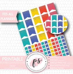 """Bliss"" Silver Glitter Specks Flags Printable Planner Stickers - Plannerologystudio"