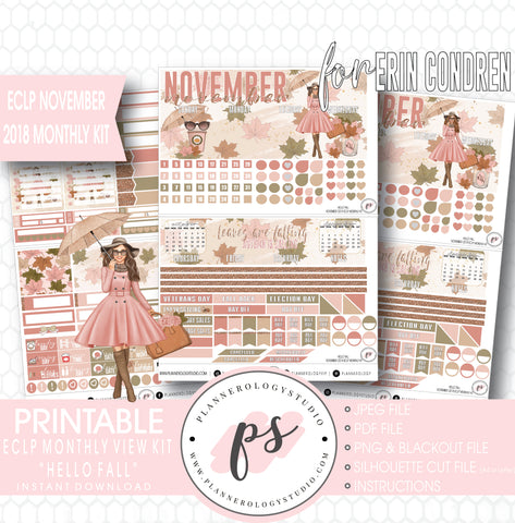 Hello Fall November 2018 Monthly View Kit Digital Printable Planner Stickers (for use with Erin Condren) - Plannerologystudio