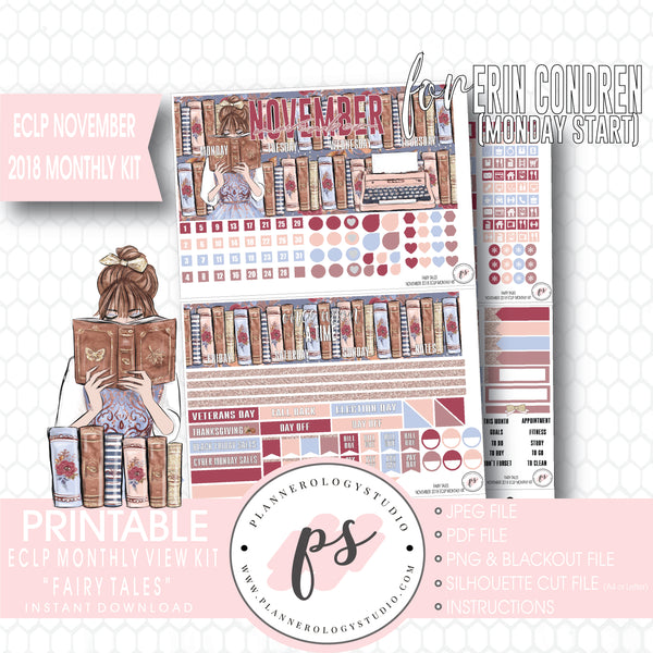 picture about Printable Fairy Tales Pdf identified as Fairy Stories November Regular Check out Package Electronic Printable Planner Stickers (for retain the services of with Erin Condren) (Undated and Monday Commence)