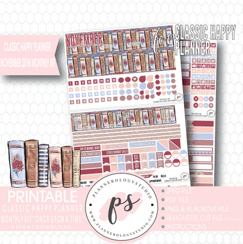 Once Upon a Time November 2018 Monthly View Kit Digital Printable Planner Stickers (for use with Classic Happy Planner) - Plannerologystudio