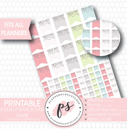 """Heaven"" Silver Glitter Specks Flags Printable Planner Stickers - Plannerologystudio"